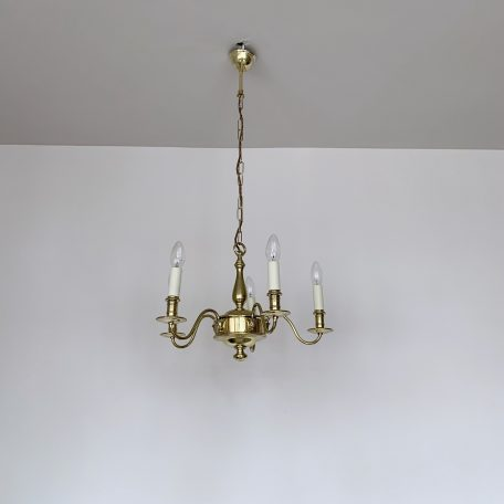 Late 20th Century Polished Brass Chandelier