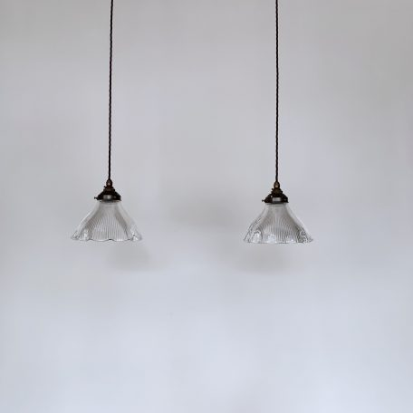 Pair of Holophane Fluted Glass Shades