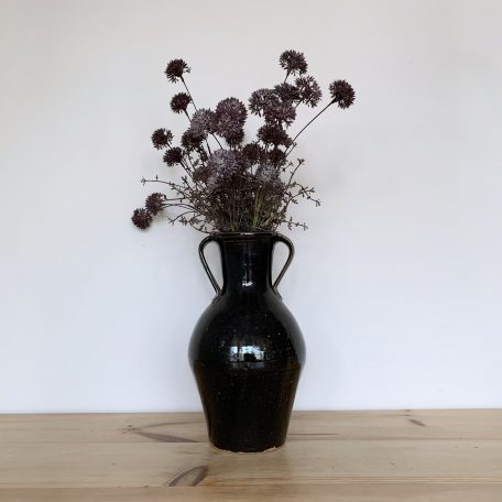 Tall Black Pottery Vase