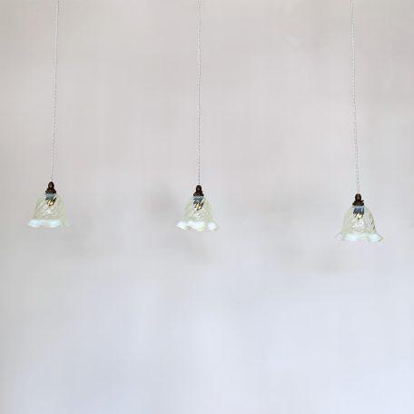 Three Small Vaseline Frill Glass Shades