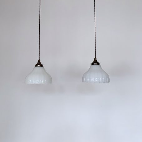 Two Opaque Thick Glass Shades