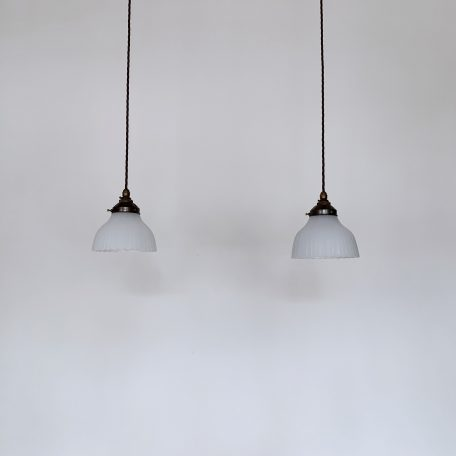 Two Small Moonstone Glass Shades