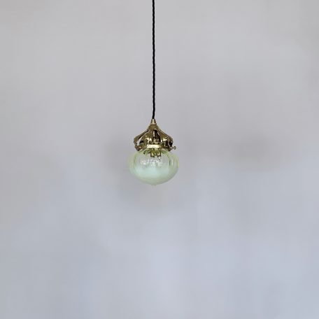 Yellow Vaseline Glass Shade with Ornate Brass Gallery
