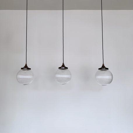Clear Ribbed Glass Globe Shades