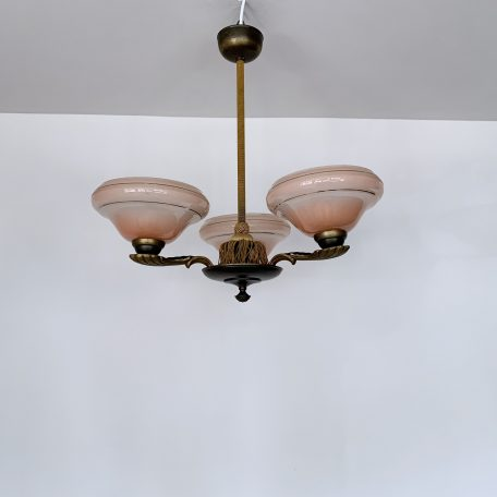 French 1950s Three Arm Chandelier with Pink Shades