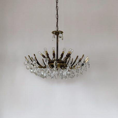French Multi Arm Chandelier with Harlequin Pear Drops