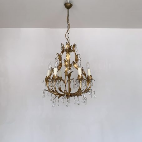 French Toleware Chandelier with Small Glass Pear Drops