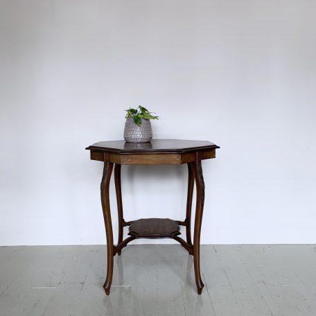 Inlayed Mahogany Octagonal Side Table