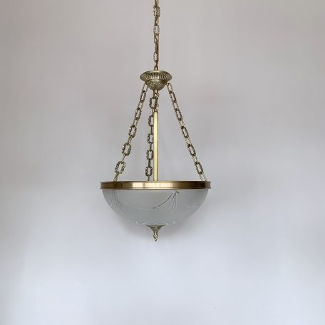 Large Brass Pendant with Cut Glass Frosted Shade