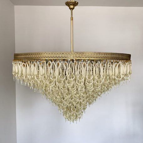 Large Mid-Century Waterfall Chandelier with Murano Drops