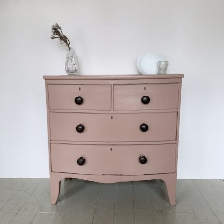 Painted Bowed Front Mahogany Chest of Drawers