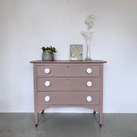 Small Painted Chest of Drawers with Porcelain Handles