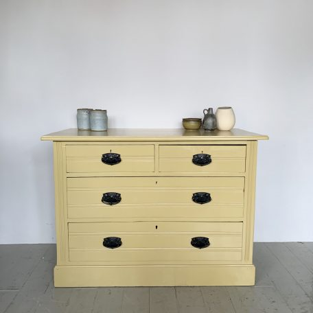 Yellow Painted Chest of Drawers with Original Handles