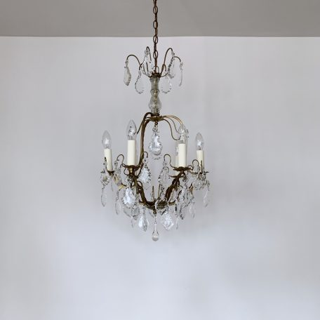 French Brass Birdcage Chandelier with Glass Flat Leaf Drops