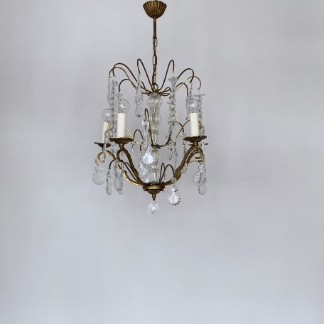 French Brass Louis XIV Style Chandelier with Crystal and Glass Drops