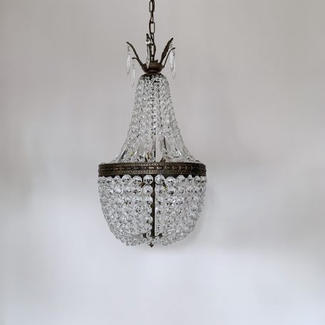French Brass Tent and Bag Balloon Chandelier
