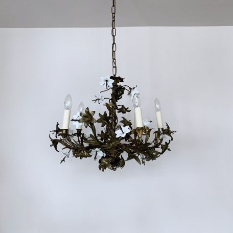 French Floral Cast Brass Chandelier with White Porcelain Flowers