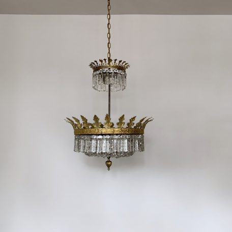 French Gilt Ornate Chandelier with Glass Button Balloon