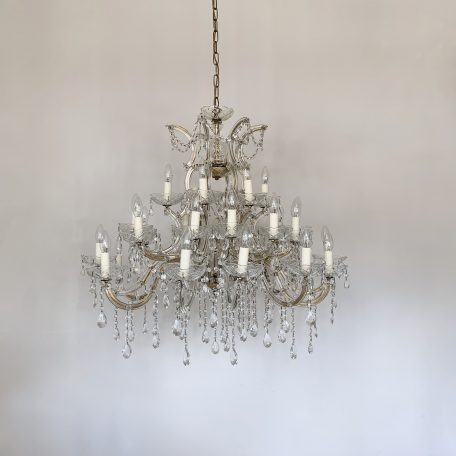 Large French Marie Thérèse Chandelier with Button Swags and Glass Pear Drops