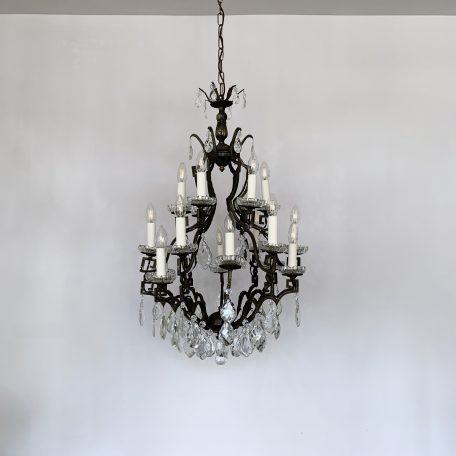 Large Italian Dark Brass Birdcage Chandelier with Cut Glass Pear and Glass Flat Leaf Drops
