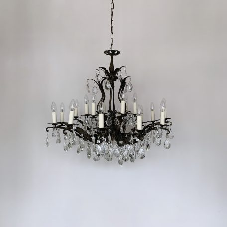 Large Ornate Brass Chandelier with Cut Glass Pear Drops