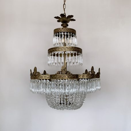 Large Petal Waterfall Chandelier with Lower Balloon