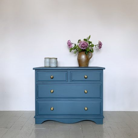 Small Painted Chest of Drawers with Brass Handles