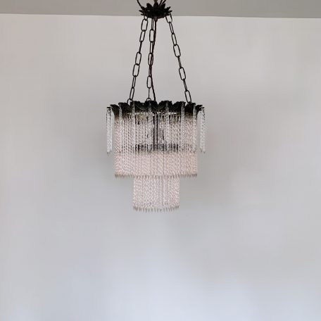 1930s Ornate Brass Chandelier with Handmade Pink Glass Drops