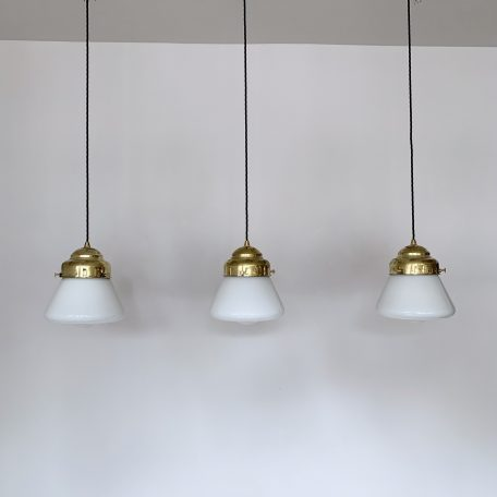 Art Deco Opaline Shaped Shades with New Brass Galleries