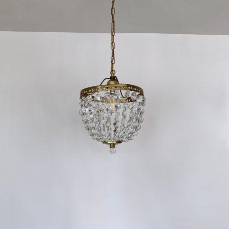 Brass and Crystal Basket Chandelier