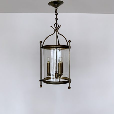 Cylindrical Aged Brass Lantern