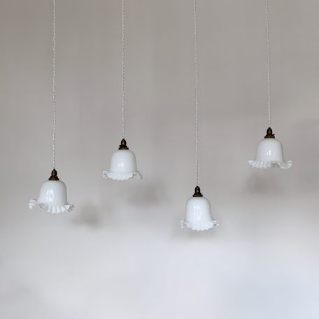 Four Small French White Glass Frill Shades