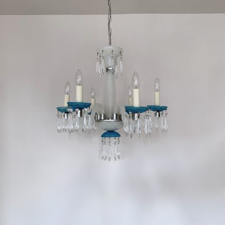 French Blue and White Glass Chandelier with Glass Icicle Drops
