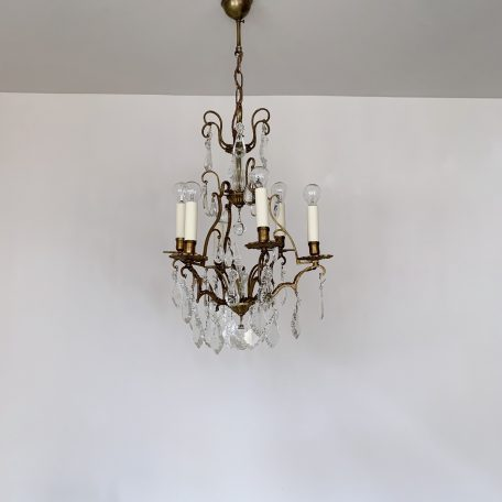 French Cast Brass Birdcage Chandelier with Flat Leaf and Crystal Drops