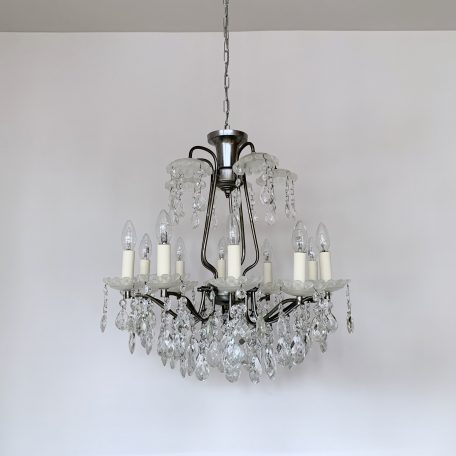 French Chromed Chandelier with Frosted Bobéche Pans and Cut Glass Harlequin Pear Drops