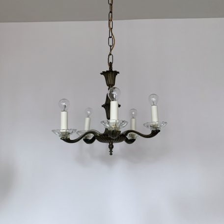 French Ornate Brass Chandelier with Glass Bobéche Pans