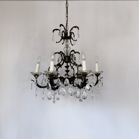 French Ornate Cast Brass Chandelier with Cut Glass Pear Drops