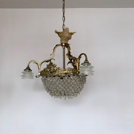 French Ornate Gilt Basket Chandelier with Frosted Floral Shades