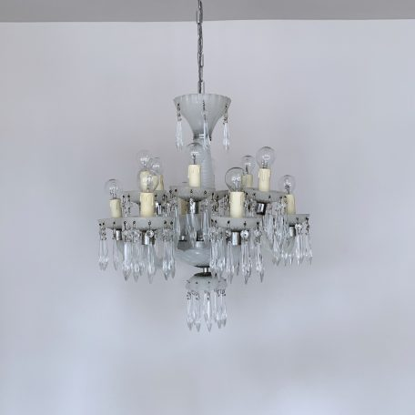 French White Glass Chandelier with Glass Icicle Drops