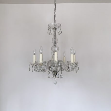 Large French Glass Swan Neck Chandelier with Cut Glass Details