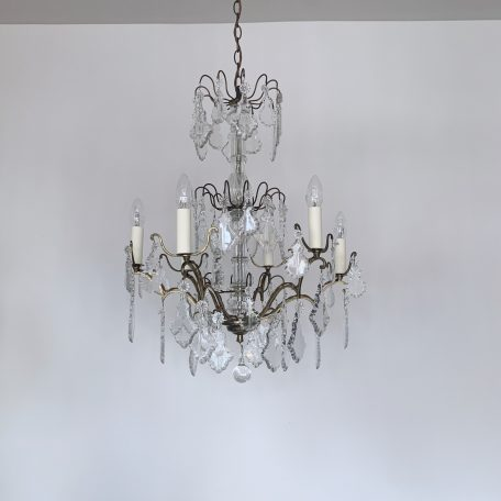 Large Louis XIV Chandelier with Glass Flat Leaf Drops