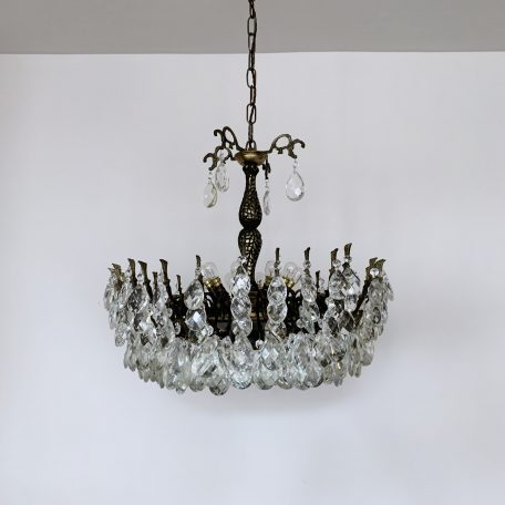 Ornate French Multi Arm Chandelier with Harlequin Pear Drops