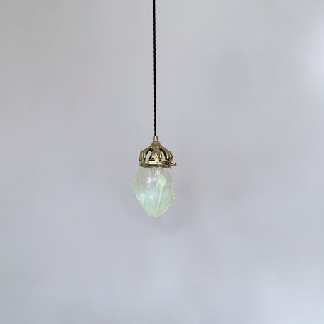Yellow Vaseline Shade with Ornate Brass Gallery