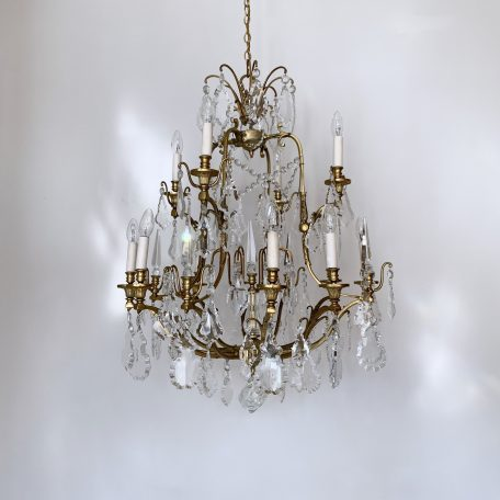 Large French Louis XIV Style Chandelier with Large Glass Flat Leaf Drops