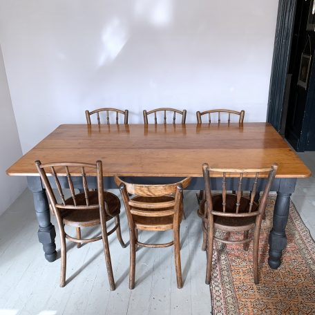 Vintage Solid Wood Table with Black Painted Legs